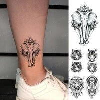 waterproof temporary tattoo sticker indian elephant lotus totem tiger lion animal flash tatto man woman kids body art fake tatoo