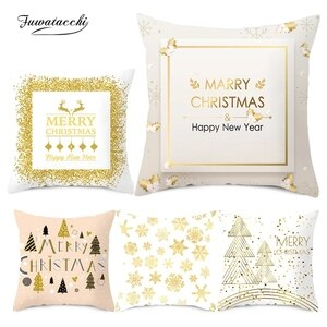 Fuwatacchi White Snow Christmas Pillow Case New Year Gift Cushion Cover for Home Sofa Decorative Gift Throw Pillowcases 45*45cm