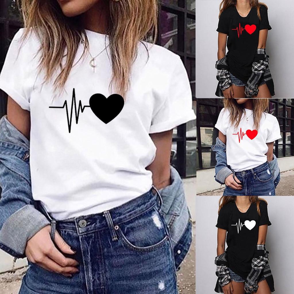 Camiseta suelta de manga corta con estampado de corazón para mujer de moda camiseta Casual con cuello redondo Superior de San Valentín regalo camiseta di San Valentino FJSL