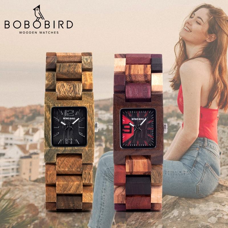 بوبو بيرد 25 مللي متر نساء ساعات صغيرة خشبية كوارتز ساعة معصم ساعات أفضل صديقة هدايا Relogio Feminino في صندوق خشبي