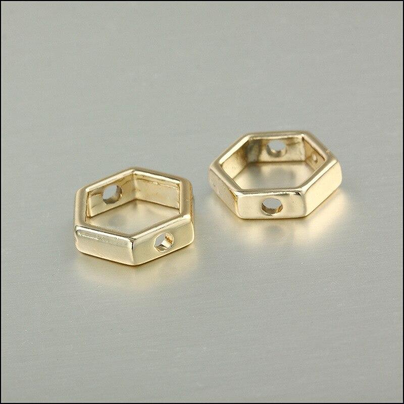 20 unids/lote de dijes hexagonales de aleación de Color dorado con doble agujero geométrico hueco marco conector en blanco encanto para hacer joyería DIY