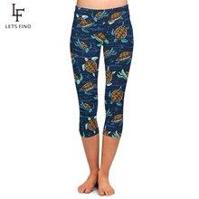 LETSFIND Fashion Plus Size Leggings Cute Sea Turtles Digital Printing Women High Waist Workout Capri Leggings for Summer