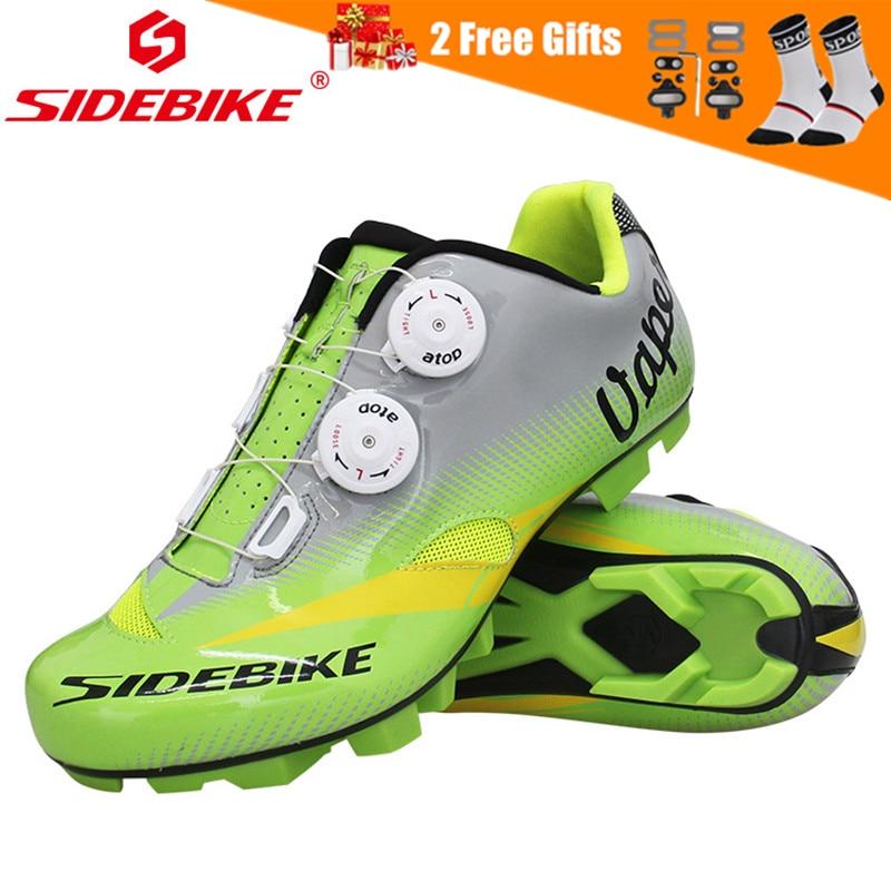 Sidebike 2020 Pro bicicleta de montaña zapatos de ciclismo atléticos de bloqueo automático calzado para andar en bicicleta MTB transpirable zapatillas de deporte de bicicleta de carreras verde