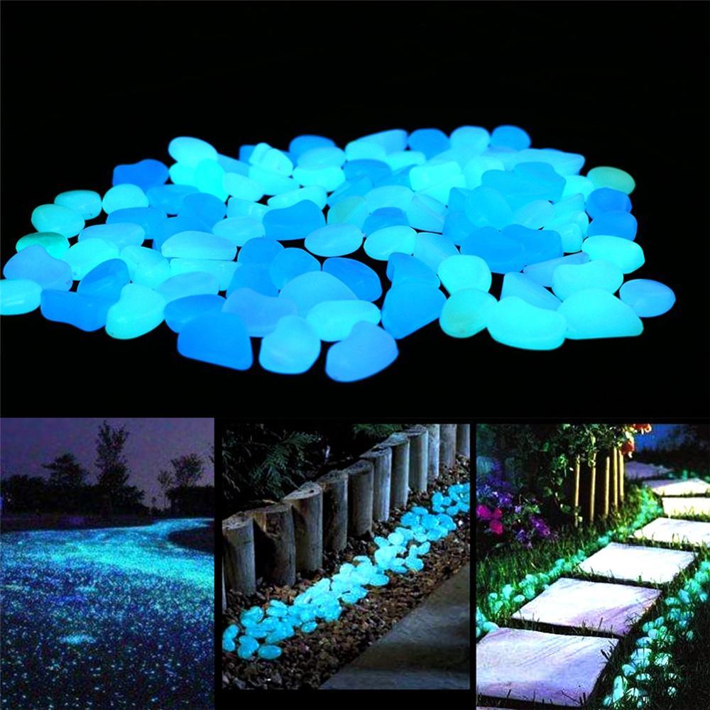 100/300/500 бр светят в тъмното светещи камъчета за градински пътеки, светещи камъни аквариум декор, градинска декорация