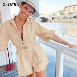 Tooling Jumpsuit Women 2021 Summer New Fashion Turn Down Collar Short-sleeved Wide-leg Shorts Female Commuter Casual Office Lady