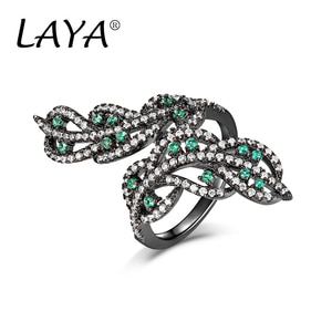 LAYA 925 Sterling Silver Fashion New Style Clear Zirco Adjustable Opening Ring For Women's Wedding High Quality Jewelry Gift