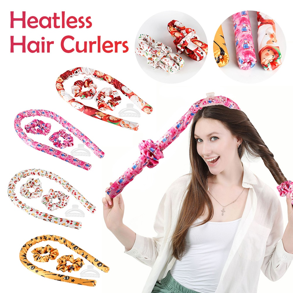 Heatless Curling Rod Curlers Christmas Styles Hair Curling Rod Headband with Hair Ties & Clips No He