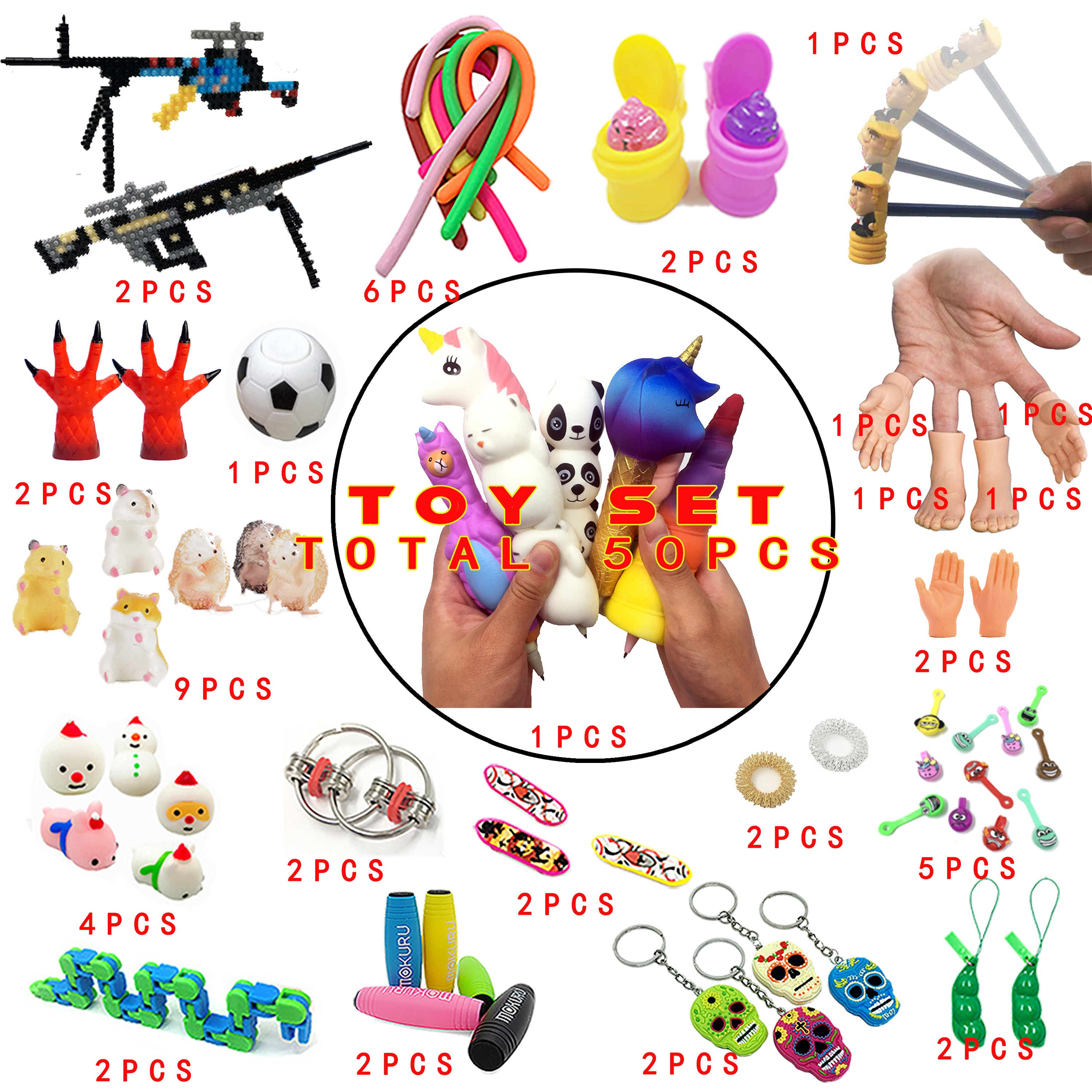2020 New  Funny Combination 50 Pieces Extrusive-Solving Fidget Kids Toys Various Styles Set Wholesale