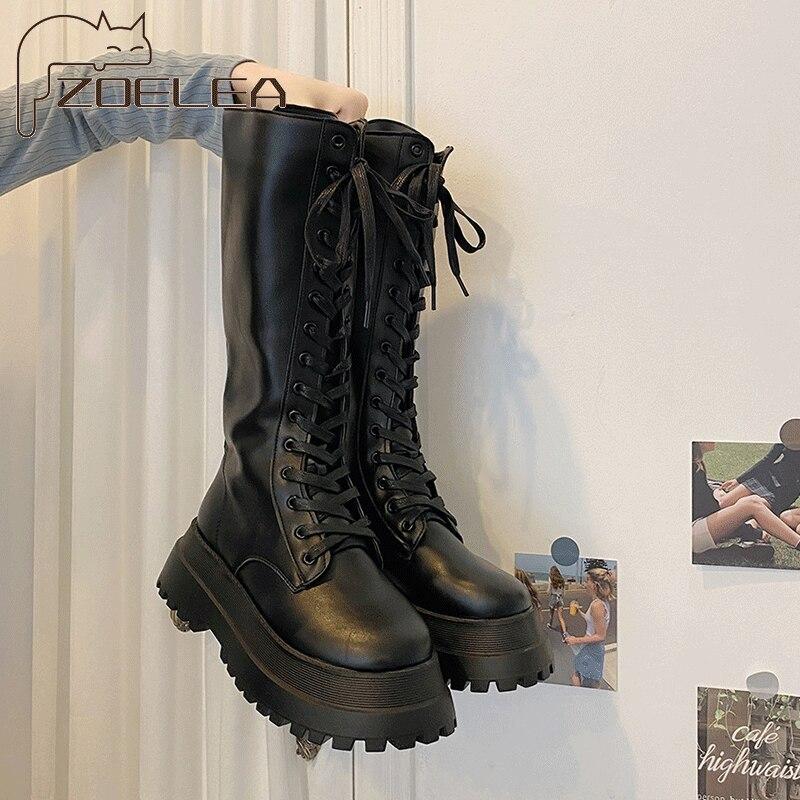 Фото - Женские сапоги на шнуровке, сапоги до колена, износостойкие Нескользящие женские сапоги, зимние женские британские ветрозащитные сапоги на... mcmlxxix сапоги