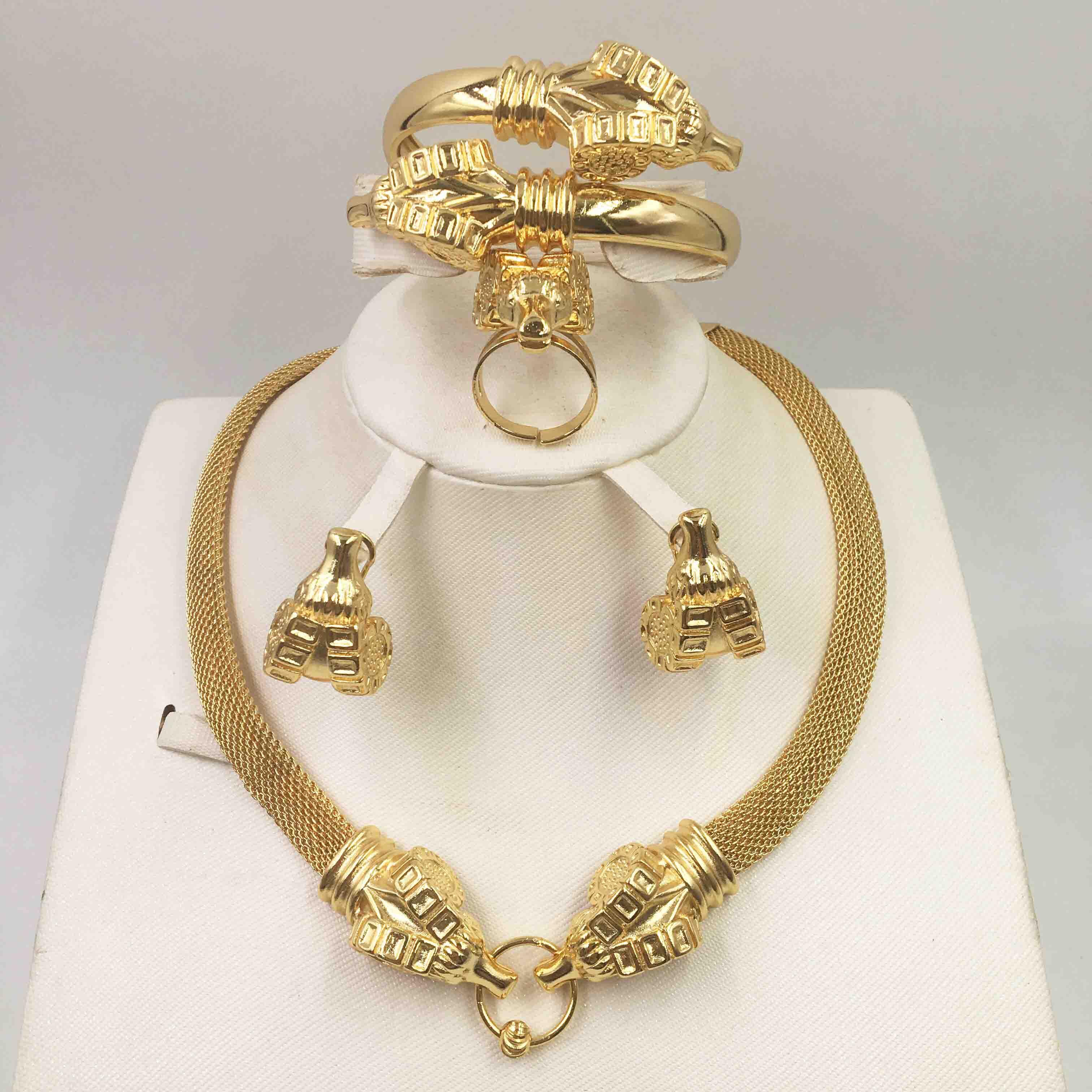 دبي عقد ذهب سلسلة القرط موضة النيجيري الزفاف الأفريقي مجوهرات سلسلة الإيطالية المرأة طقم مجوهرات