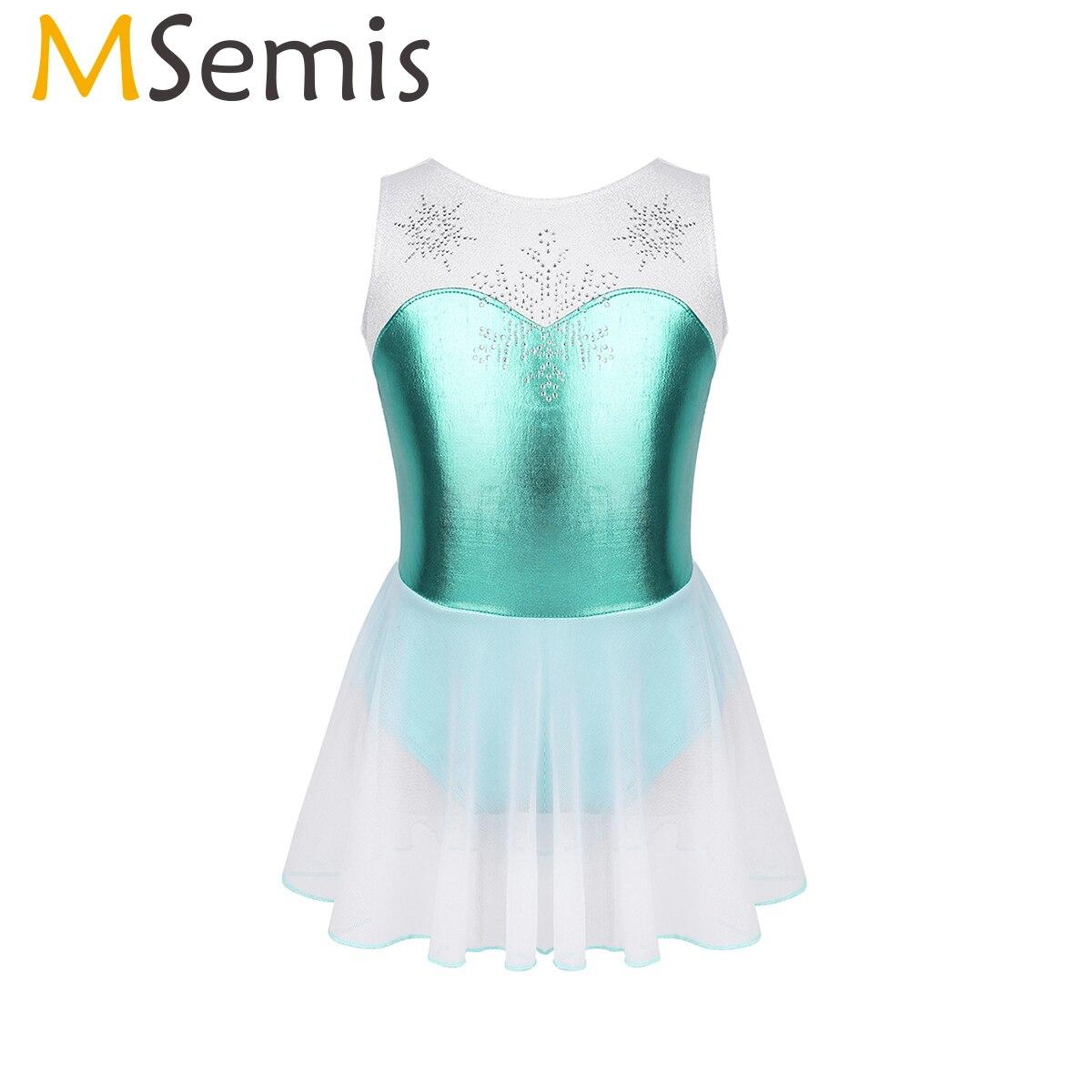 Vestido de Ballet metalizado para chica de MSemis, traje de baño con leotardo para chico, ropa de gimnasia rítmica, copo de nieve de estrás y bailarina