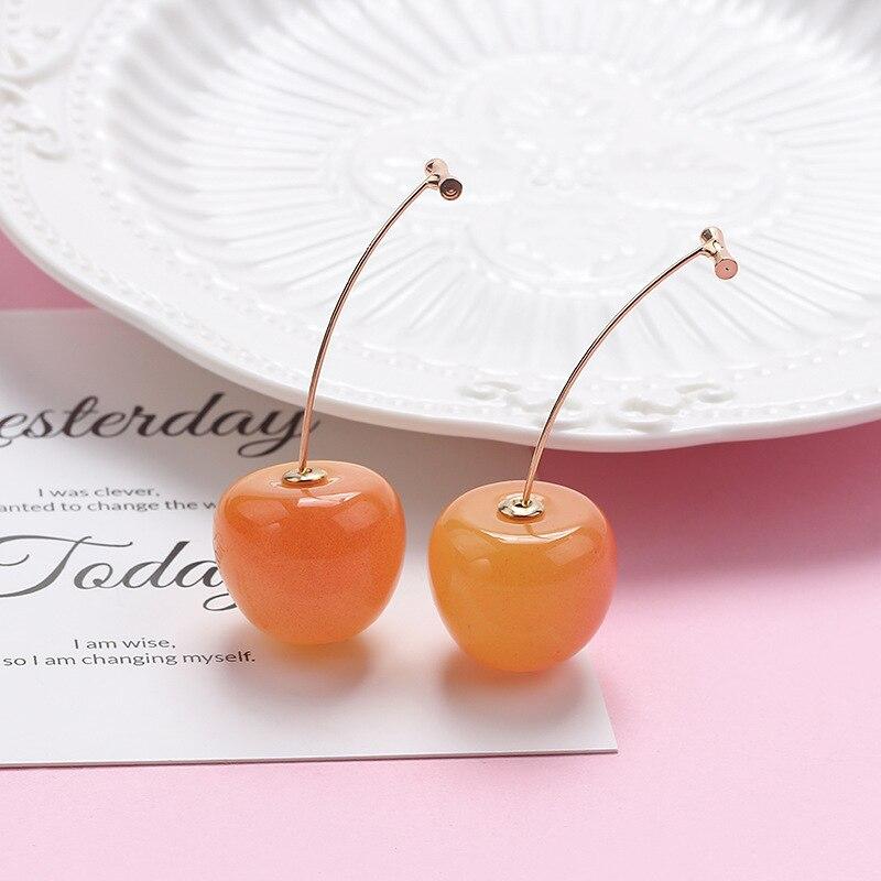 Pendientes de gota de cereza naranja dulce para mujeres KPOP frutas lindas Tansparent resina colgante pendientes chica regalos joyería femenina