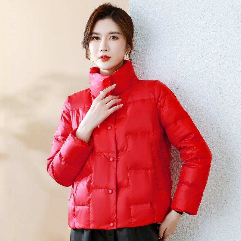 Красная, черная, хаки, розовая парка-пуховик, женская зимняя легкая теплая плотная пуховая Базовая куртка, Теплая стеганая куртка, стильная ...