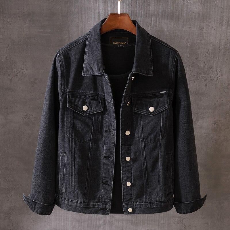 Модные мужские куртки в британском стиле, высококачественные черные дизайнерские Джинсовые куртки с вышивкой, мужские хлопковые пальто в с...