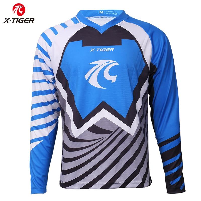 X-tiger 100% poliéster Downhill Jerseys Motocross Racing Sports Wear MTB Bike ciclismo Jerseys manga larga bicicleta DH camisa