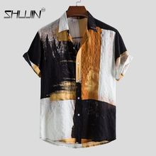 Men Beachwear Short Sleeve Shirt Button Down Shirt Lapel Shirts Print Floral Shirt  With Pocket Beac