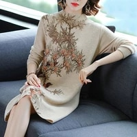 retro bird tree printing knitted dresses winter women long sleeve sweater dress casual crochet pullover dress for lady