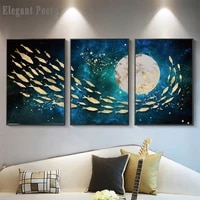 golden fish moon abstract wall poster modern style canvas print painting contemporary art living room entrance decoratio picture
