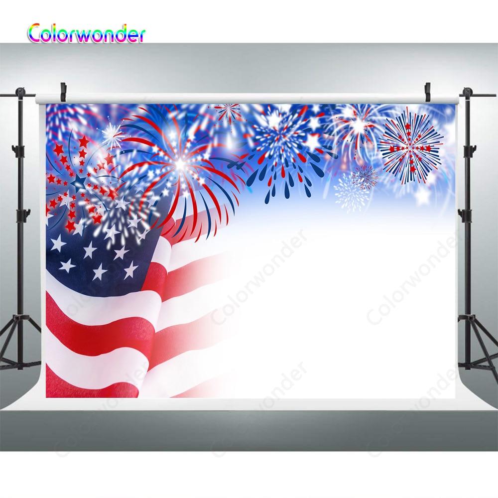 Fuegos artificiales bandera americana 4 de Julio telón de fondo fiesta del Día de la independencia fotografía telón de fondo niño Foto fondo para cabina de fotos