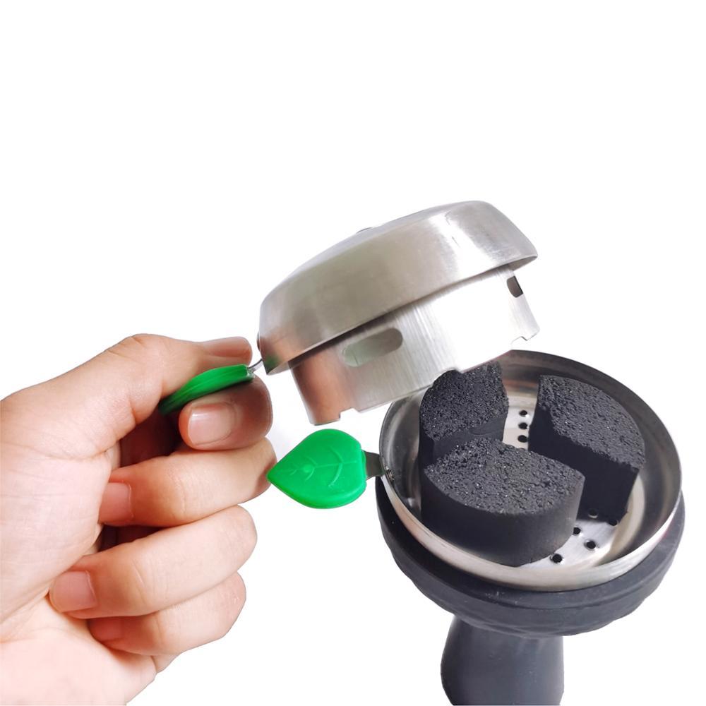 Soporte de carbón de la cachimba Material metálico forma de manzana agujero doble manija accesorios tabaco carbón para narguile Shisha titular