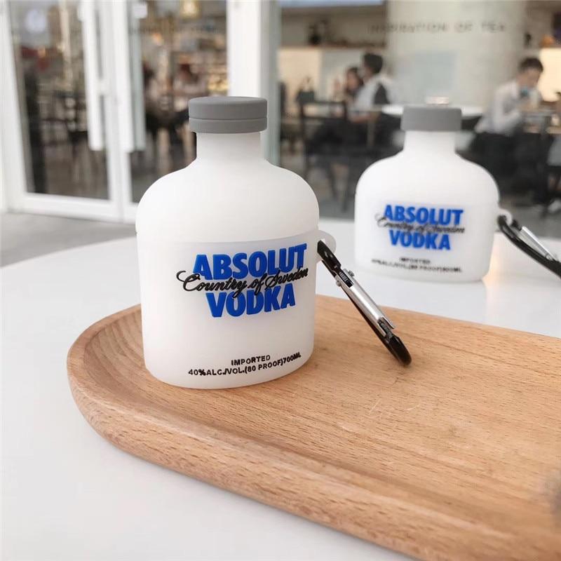 Auriculares con dibujos de botella de vino y Vodka 3D... funda de silicona para los airpods de Apple 1/2 auriculares inalámbricos para