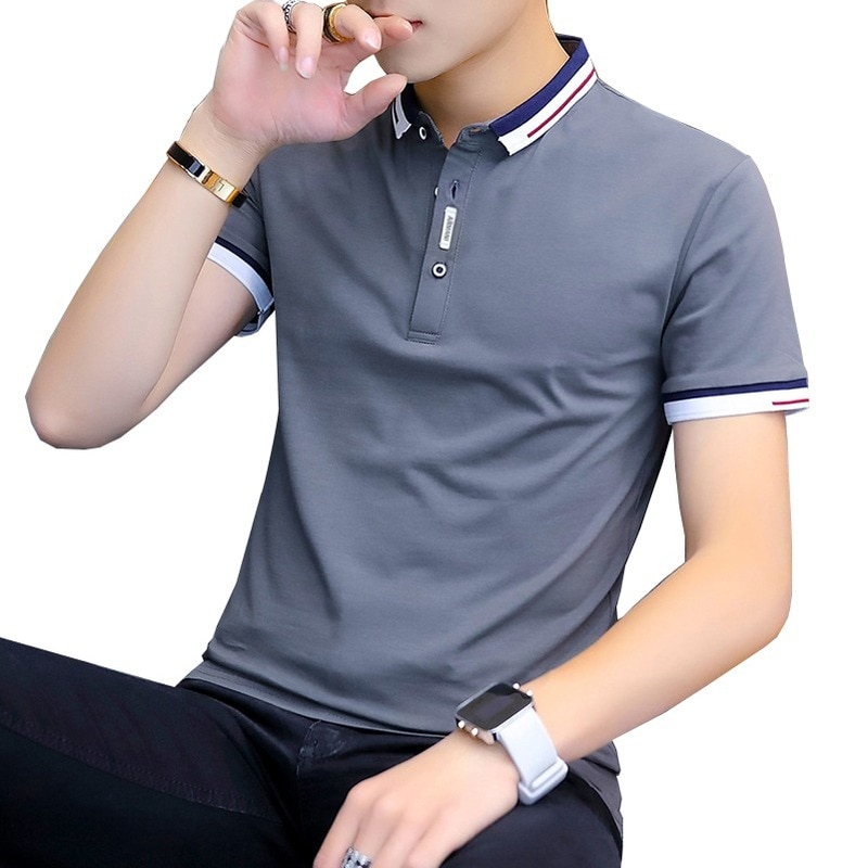 2021 summer casual polo shirt men short sleeve turn down collar slim fit sold color polo shirt for men plus size