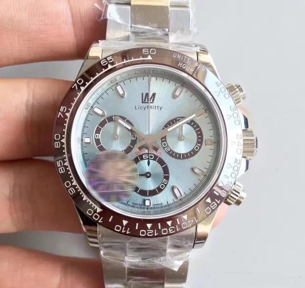 Moldura de Vidro Relógio Masculino Movimento Automático Daytona Cerâmica Safira 316l Aço Inoxidável Cinta Sólida Mestre Relógios Masculinos