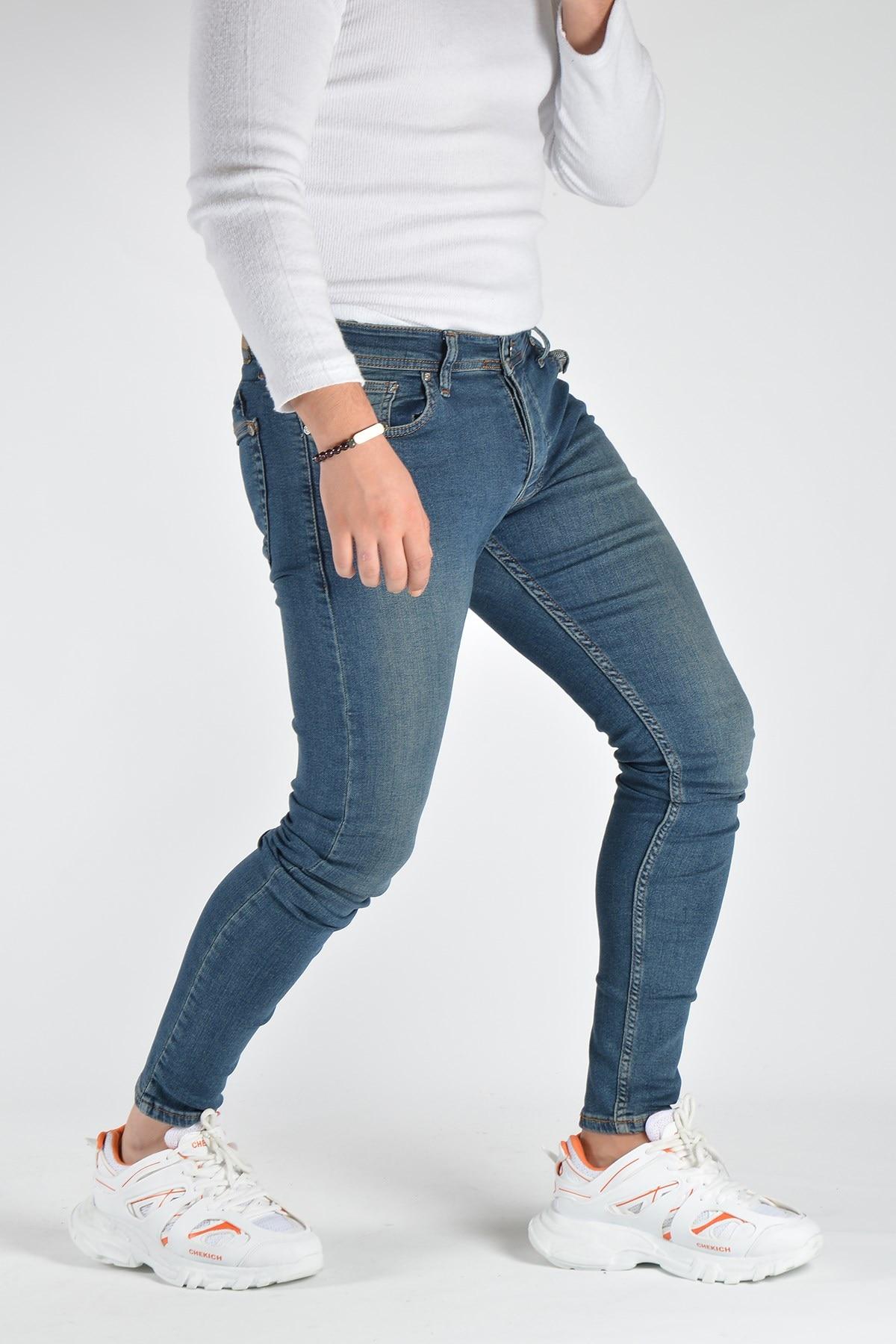 Мужские облегающие джинсовые брюки 20K-2100459 темно-синие