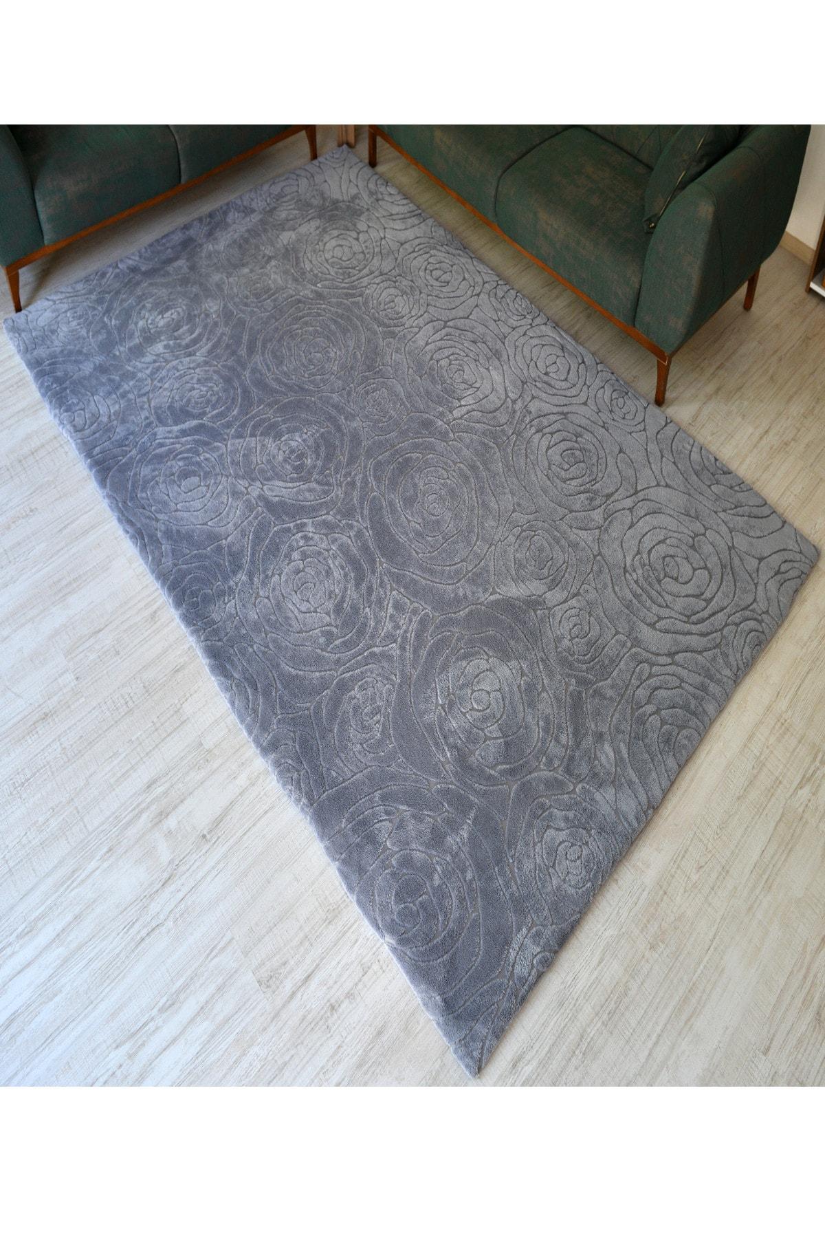 غطاء ديكور المنزل للسجاد السجاد غطاء السجاد النسيج ارتفع نمط رمادي
