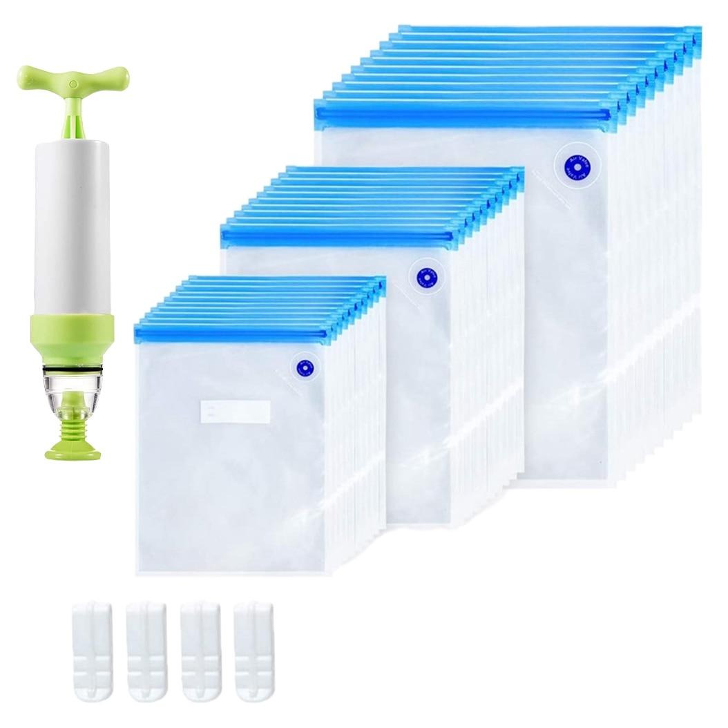 Sous Vide حقائب 35 حزمة قابلة لإعادة الاستخدام الكهربائية فراغ تخزين المواد الغذائية حفظ السدادة طباخ مع 3 حجم مختومة حقيبة ، 1 مضخة يدوية ، 4 كليب