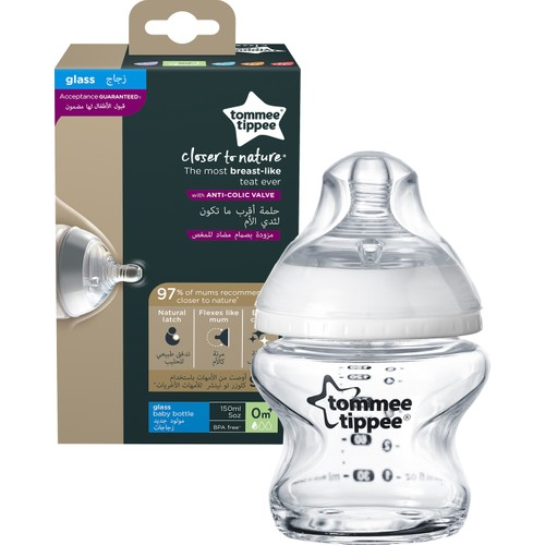 Tommee Tippee PP Closer to Nature Glass Feeding Bottle, 150 ml x 1 0 m +