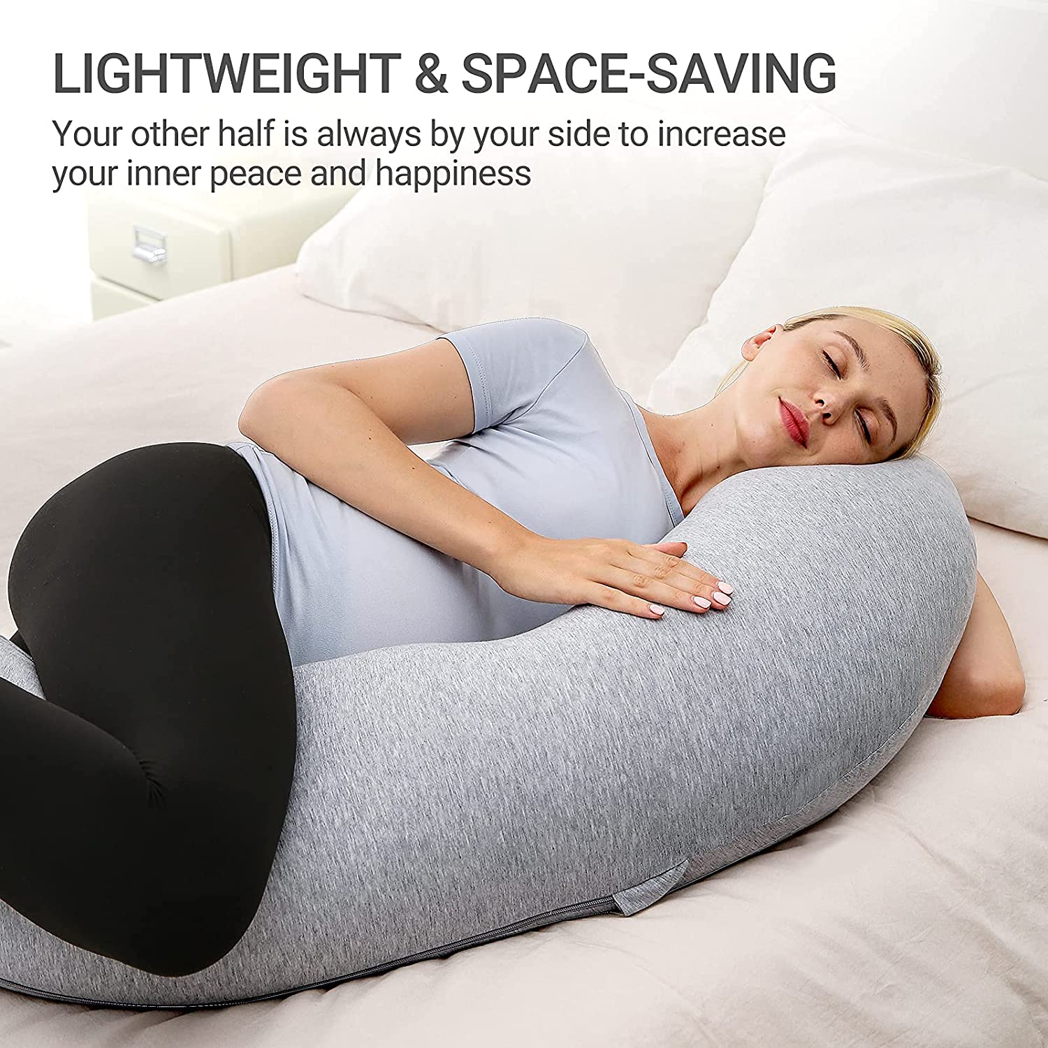 Pregnancy Pillows for Body Support, J Shaped Maternity Pillow with Removable Jersey Cover, Soft Pregnancy Body for Pillow enlarge