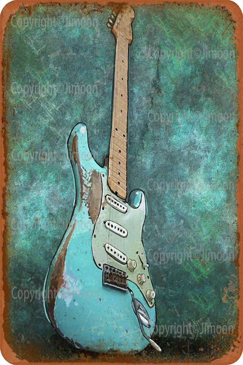 Fender Stratocaster señal Metal lata decoración de pared divertido para la decoración...