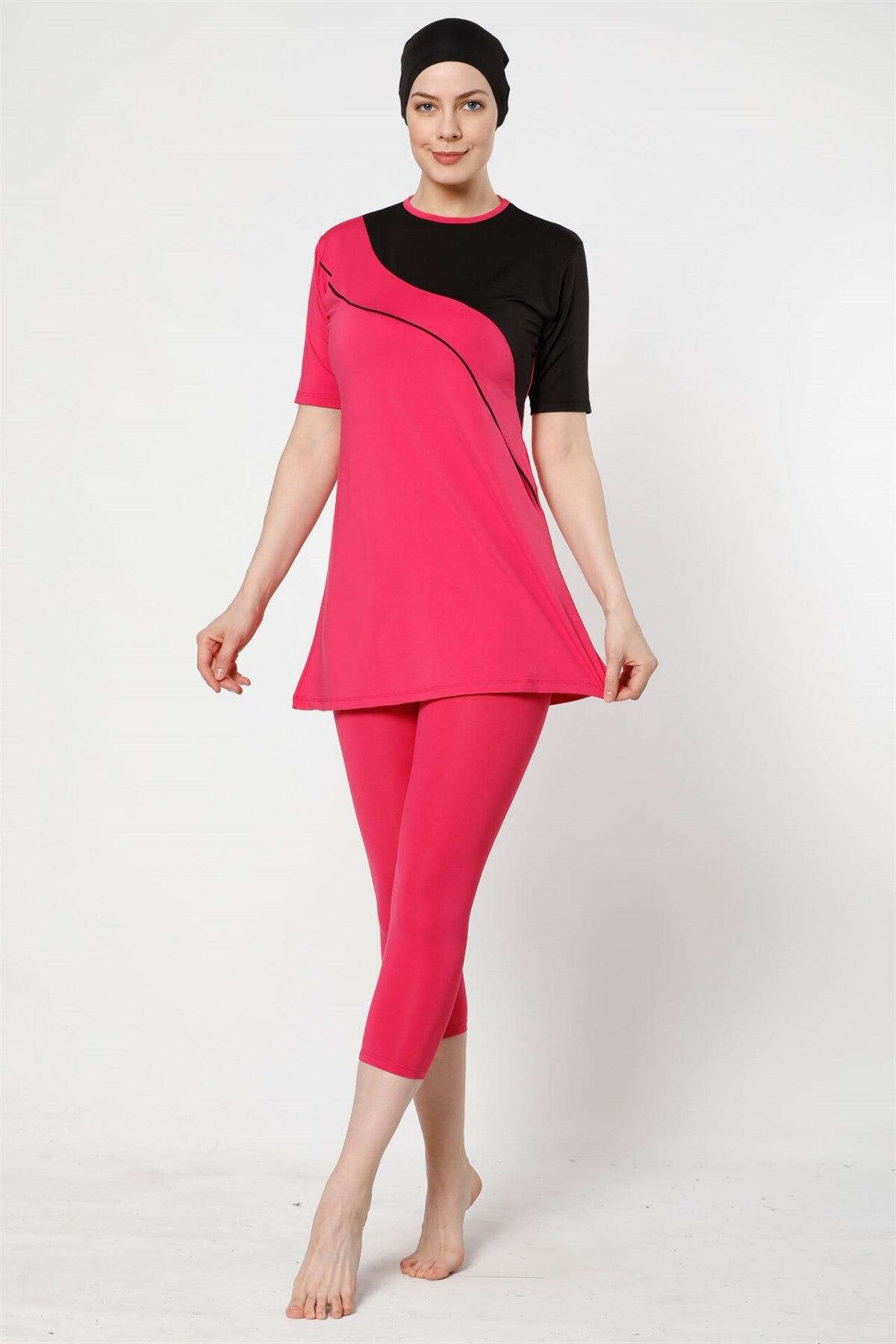 Fashion Cartoon Half Off The Tights Lycra Short Sleeve Hijab swimwear 28021