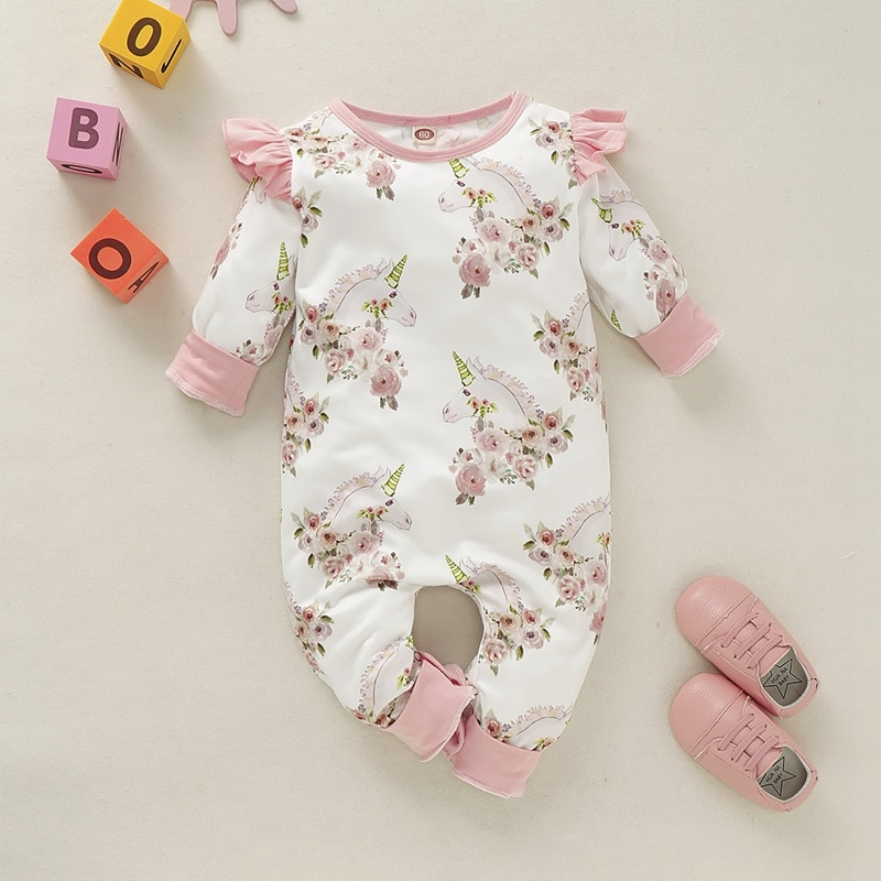 Hibobi Newborn Baby Girls Cute Casual Floral Romper Infant Toddler Long Sleeve Jumpsuit Baby Clothes