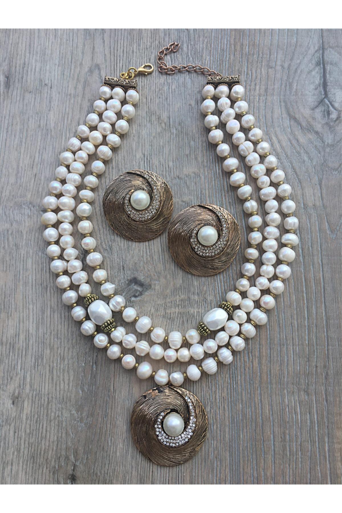 مجوهرات الأزياء النسائية الأبيض اللؤلؤ الثقافي الجولة المينا طقم أقراط برونزية