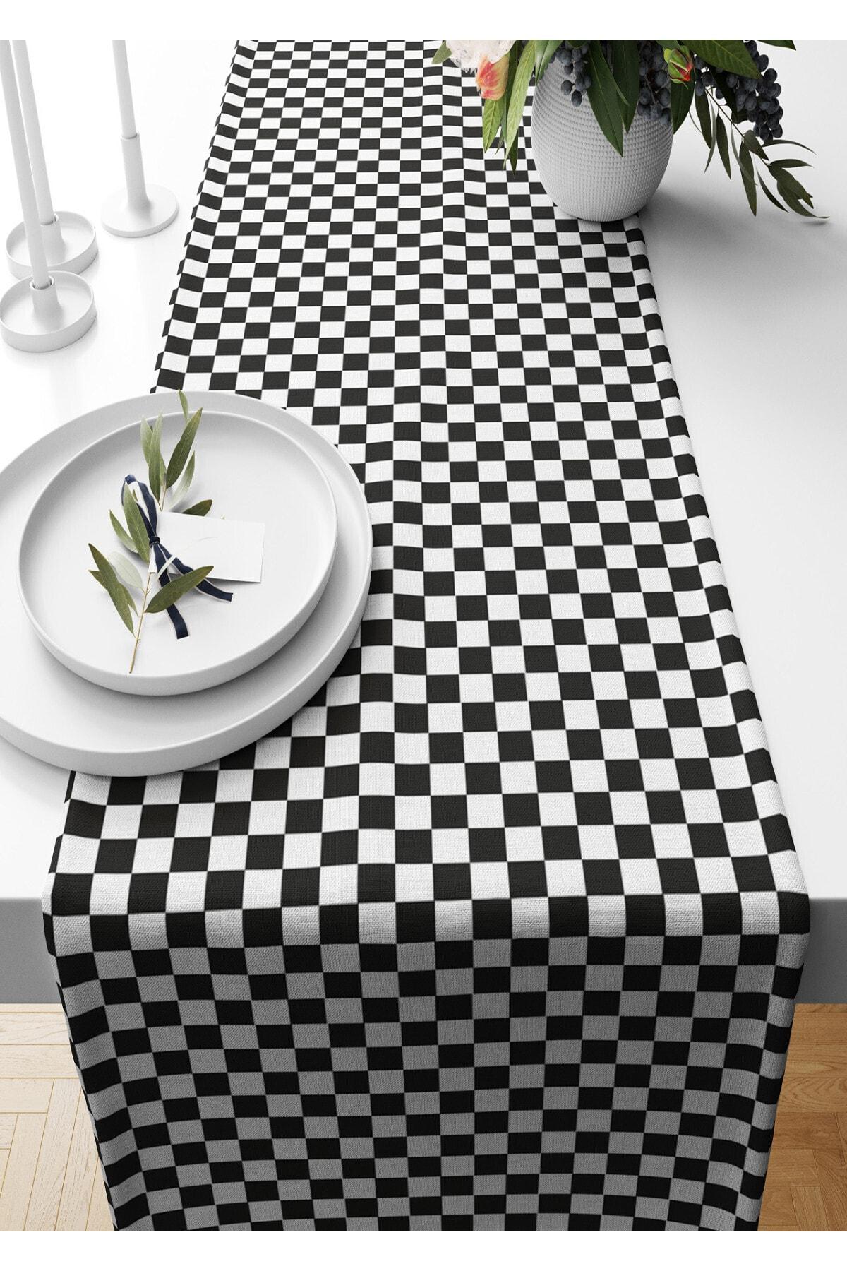 قماش من جلد الغزال منقوش على شكل الشطرنج مقاس 140*40 سم