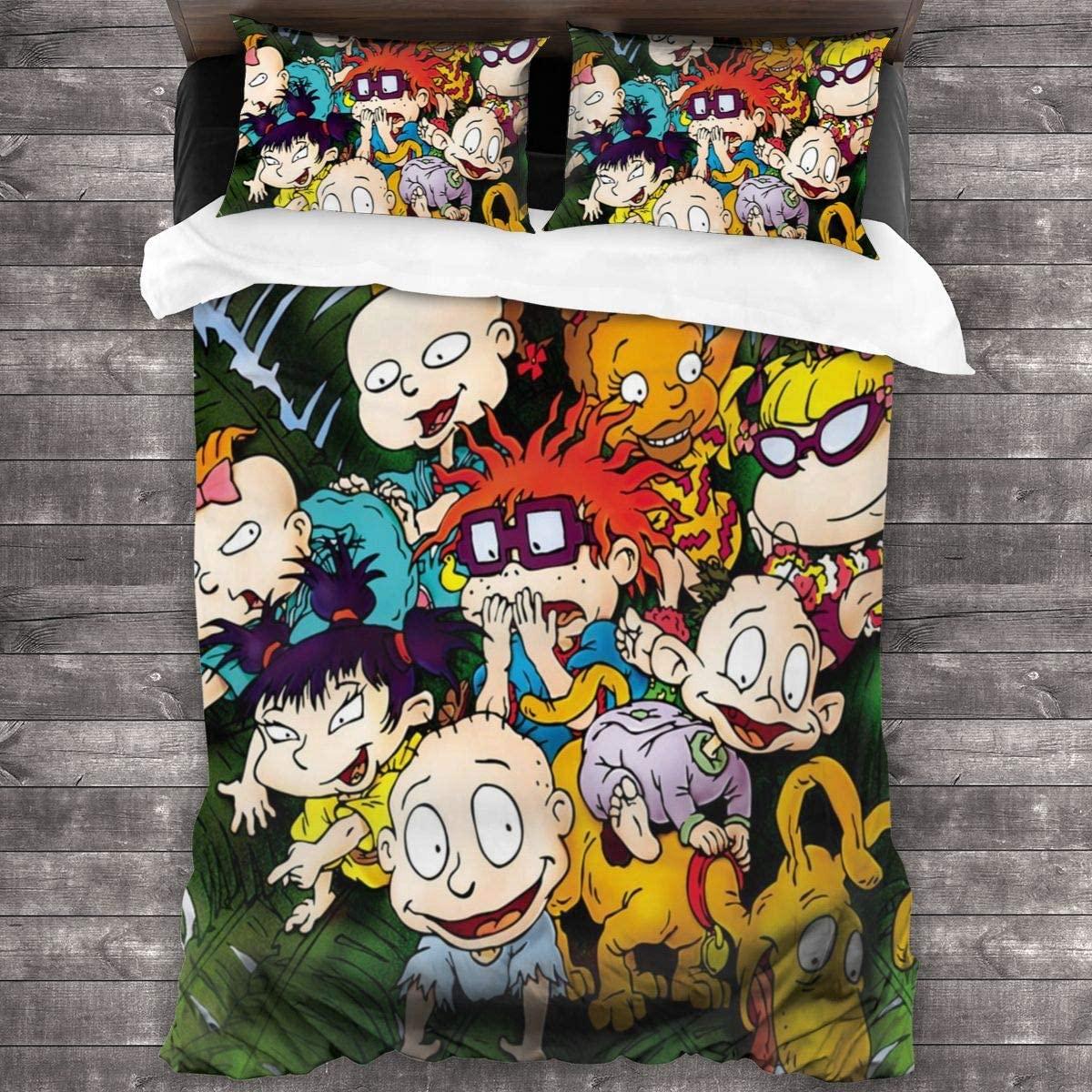 3 قطعة طباعة الفراش Rugrats حاف مجموعة غطاء لينة (لا المعزي) هدية السرير (1 حاف الغطاء 2 وسادة شمس)