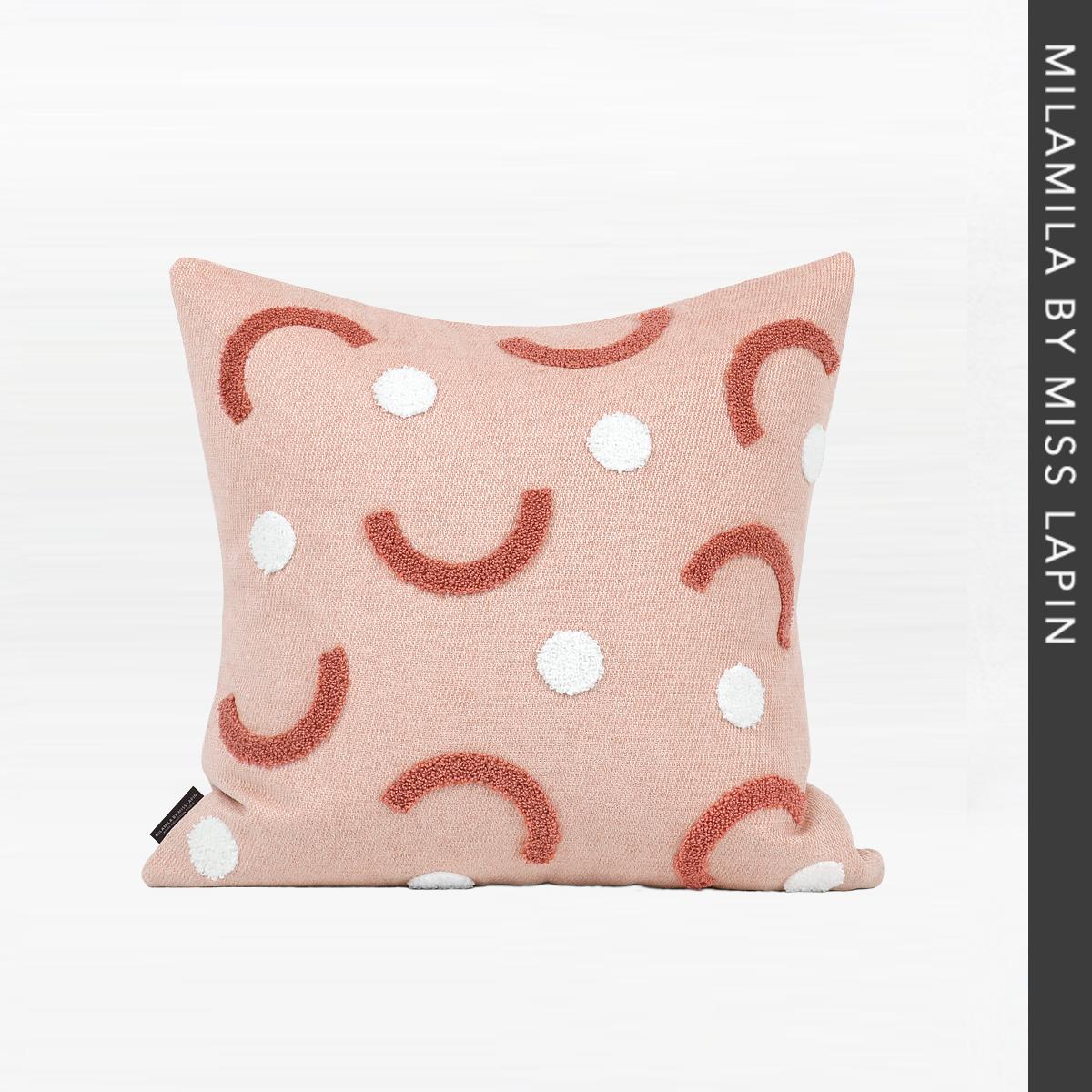 ملكة جمال LAPIN غطاء الوسادة وجوه مبتسم منشفة التطريز مصمم نمط الوردي وسادة غطاء 45x45 سنتيمتر الساخن بيع