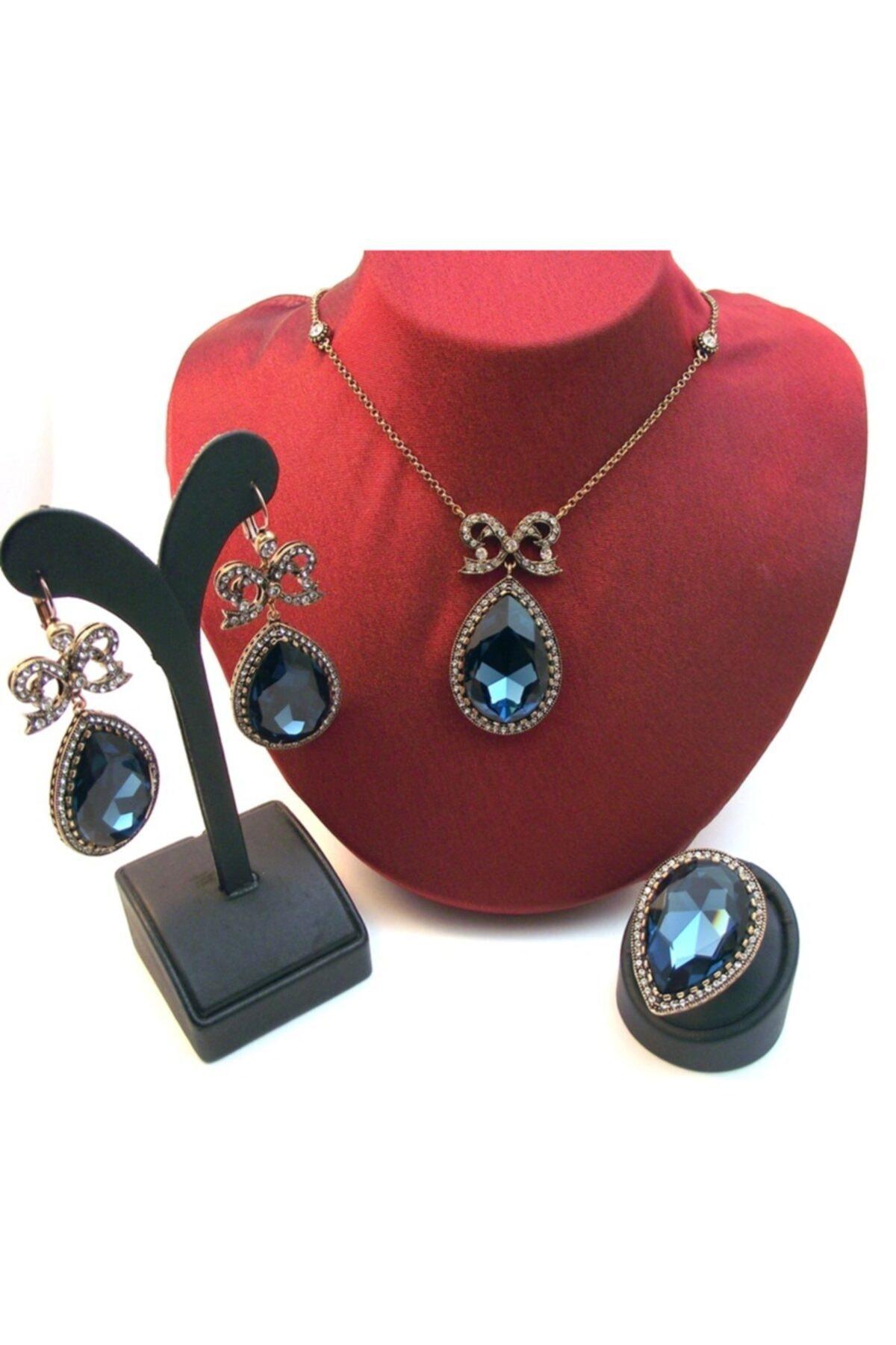 مجوهرات الأزياء النسائية لون الذهب هيرريم الياقوت الأزرق الداكن بالتنقيط الماس المونتور مجموعات 890