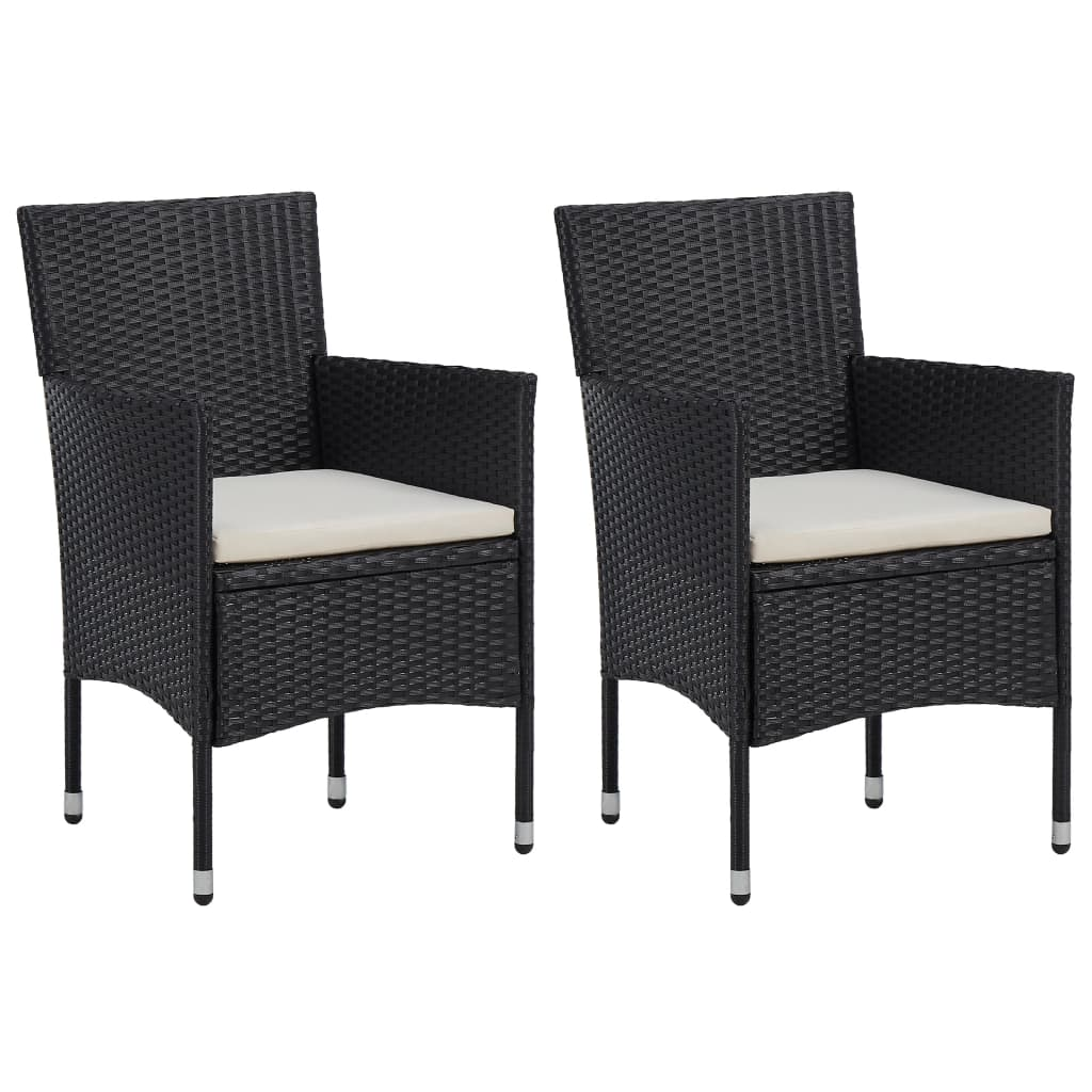 Patio Outdoor Garden Dining Chairs Deck Porch Furniture Set Balcony Lounge Chair Decor 2pcs Poly Rattan Black