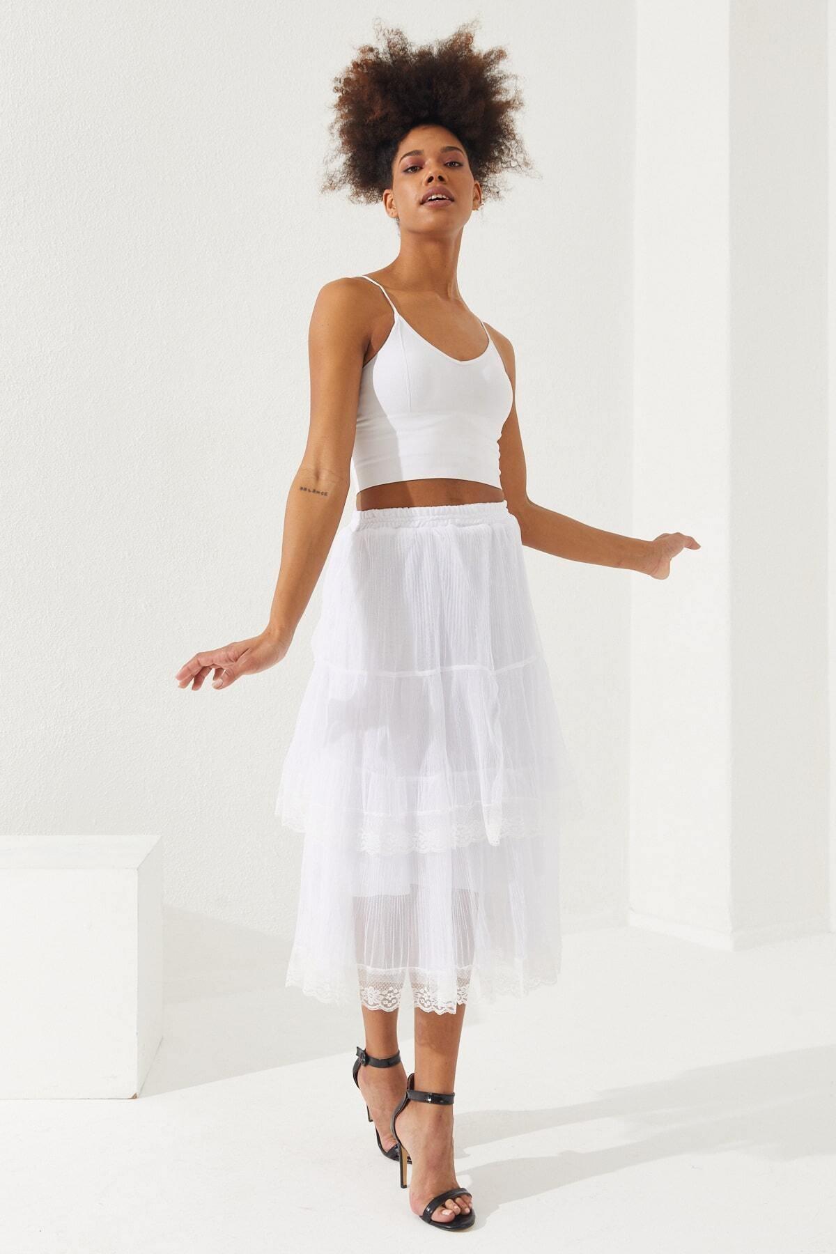 Women White Tulle Skirt Floor Floor Women Skirt Fashion Casual Sport