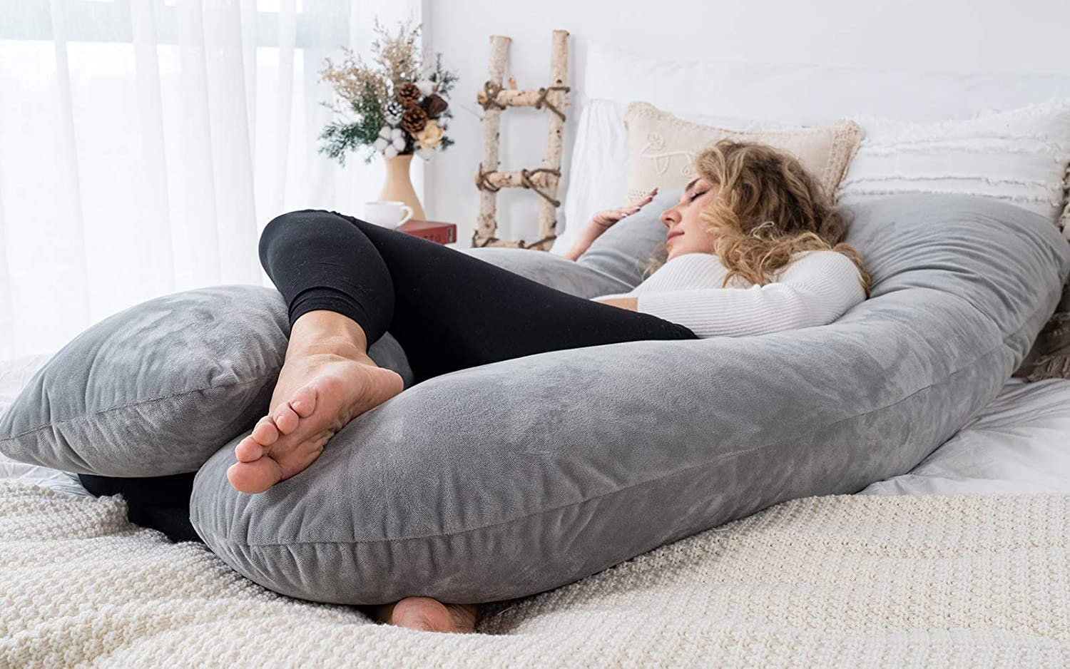 60 inch Pregnancy Pillow U Shaped, Full Body Pillow for Pregnant Women/Side Sleepers, maternity Pillow with Velvet Cover, Gray enlarge
