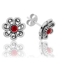 tevuli 925 sterling silver red filigree flower studded earrings