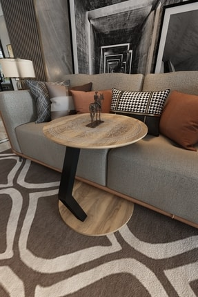 Придиванный столик приставной столик Услуги стол из орехового дерева круглый деревянный стол одинарная ножка для кофейного столика Гостин...