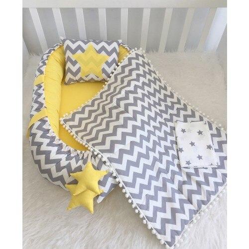 Modastra Gray Zigzag and Yellow Design Beads Edge Pikeli Babynest Set