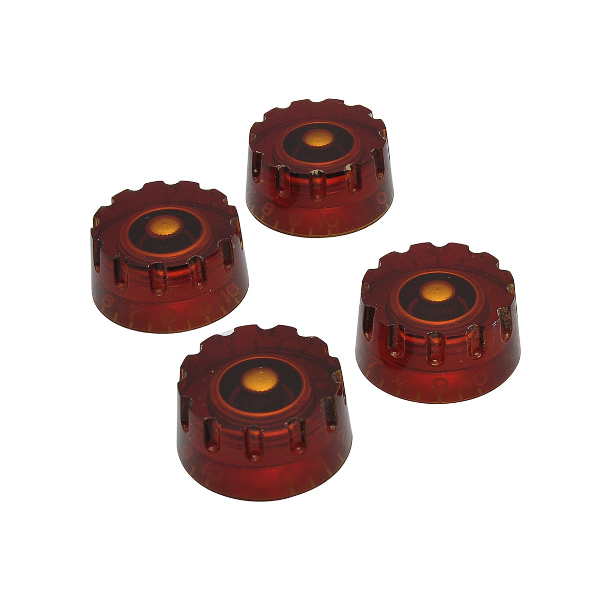 Musiclily Pro Inch Size Knurled Guitar Control Speed Knobs Compatible with USA Made Les Paul Electric Guitar, Amber (Set of 4)