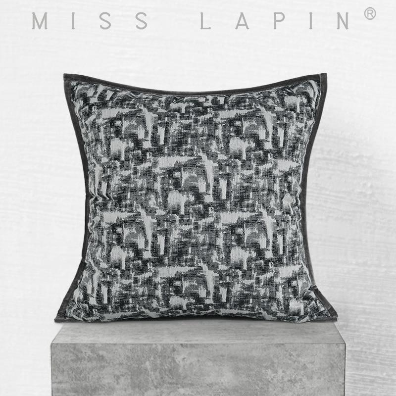 ملكة جمال LAPIN 50x50 سنتيمتر الراقية محكم رمي وسادة الأسود والأبيض وسائد أريكة فاخرة يغطي ديكور