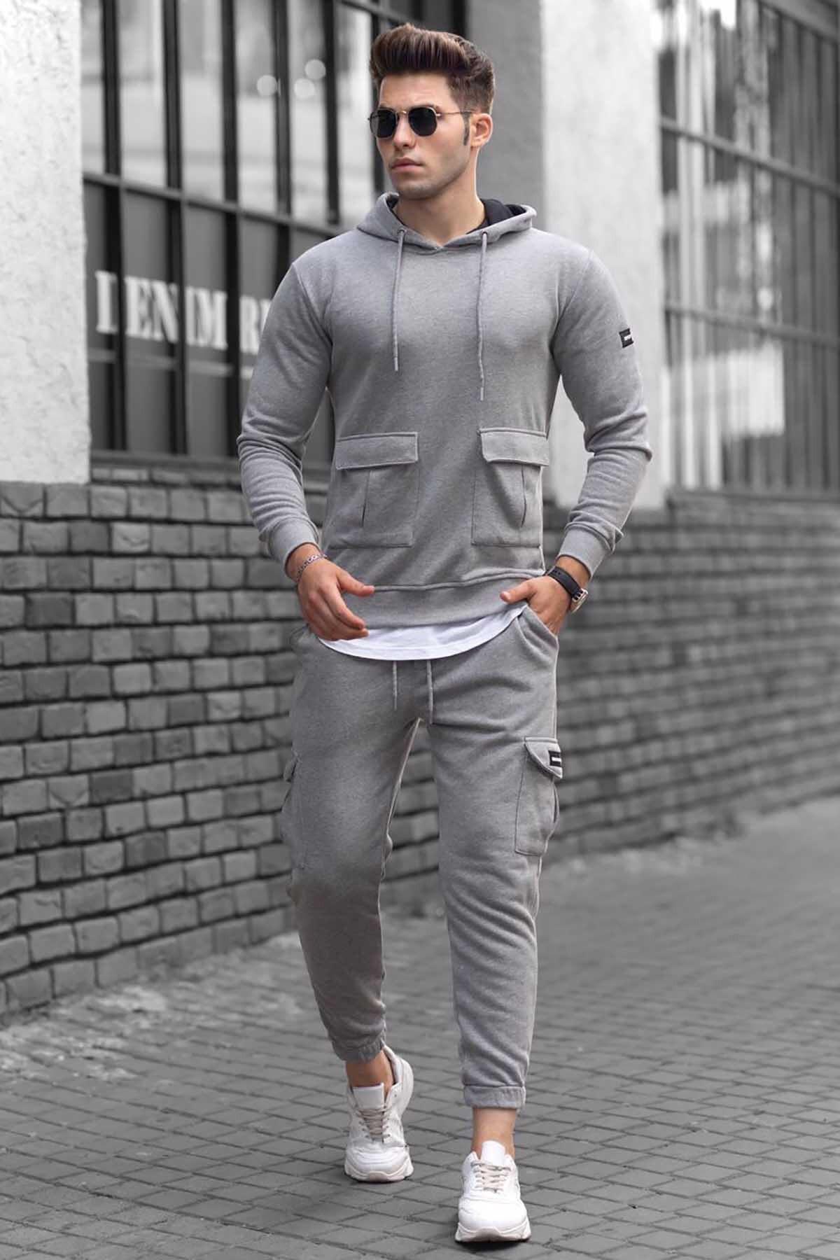 Gray Pocket Detailed Men's Sweatshirt Tracksuit Set 2021 New Season Cotton Polyester Fabric 2 Pieces