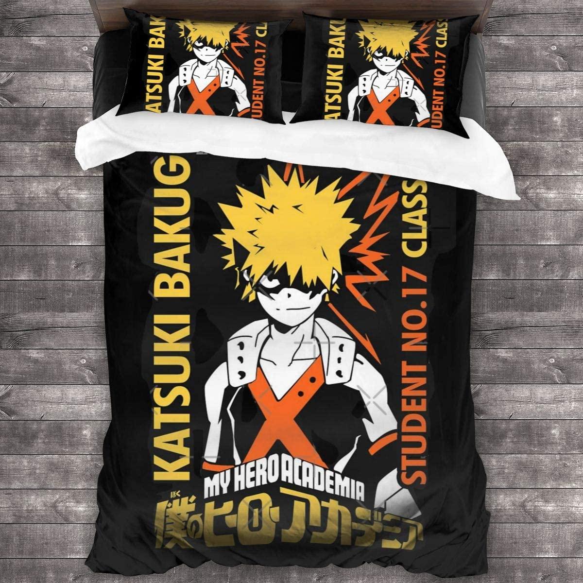 3 قطعة طباعة الفراش Katsuki Bakugo حاف مجموعة غطاء لينة (لا المعزي) هدية السرير (1 حاف الغطاء 2 وسادة شمس)